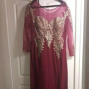 Burgundy & Gold Prom Dress